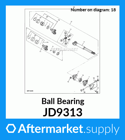 John Deere Original Equipment Ball Bearing #JD9313