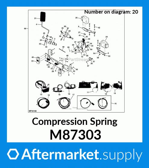 John Deere M87303 Compression Spring F 910 911 912 915 925 930 935 1145 Mower