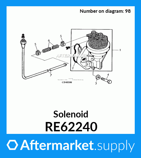 Injection Pump Fuel Solenoid RE62240 RE37089 Replacement For John Deere Tractors 26214R Stanadyne 12V