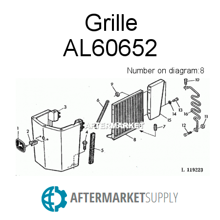 Model parts also Al60653 together with 230906825689 in addition  on john deere 2150 radiator
