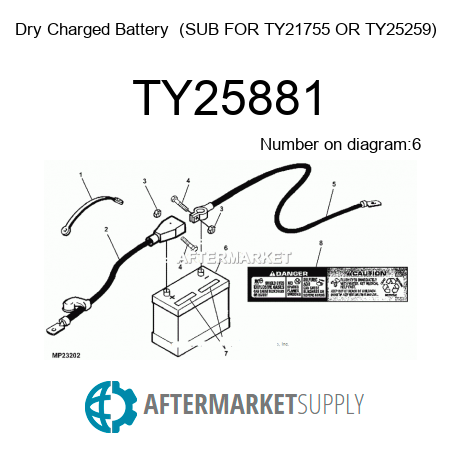 TY25881 Dry Charged Battery – John Deere 2653a Wiring Diagram